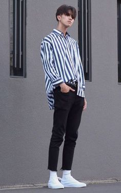 Minimal, stripe shirt, black denim fit Japanese esque style, high fash
