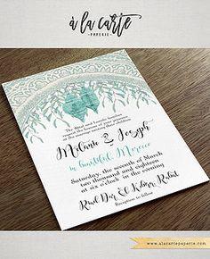 Morocco Arabia Desert Weddings Destination Wedding Invitation Teal Turquoise Blue Illustrated