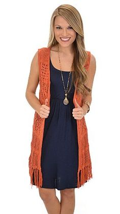Thick crochet makes up this vest and let me just say that it. is. FABULOUS! $39 at shopbluedoor.com!