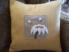 Honey Bees And Flower Pillow Slipcover by rustiquecat on Etsy