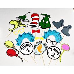 Cat in the Hat inspired party props 18 pc by LeStudioRose on Etsy
