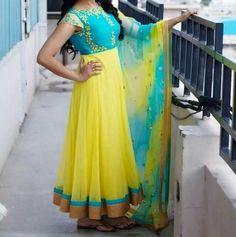 Shine like a moon and spark like a star. Best suitable for Sangeeth/Mahanadi/haldi functions. To order, pls WhatsApp on 94929 91857 Kalamkari Dresses, Ikkat Dresses, Sari Blouse Designs, Dress Neck Designs, Indian Designer Outfits, Indian Outfits, Chudidhar Designs, Designer Anarkali Dresses, Long Gown Dress