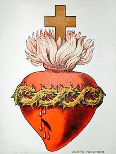 The Sacred Heart of Christ. Jesus, protect us. Save us. Religious Images, Religious Art, Sagrado Corazon Tattoo, Sacred Heart Tattoos, Jesus E Maria, Brust Tattoo, Herz Tattoo, Heart Illustration, Heart Of Jesus