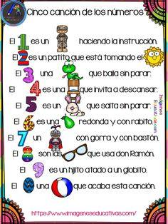 Canciones con pictogramas para Educación infantil y preescolar - Imagenes Educativas Preschool Education, Preschool Activities, Math Bingo, Teaching Babies, Montessori, Poetry For Kids, School Posters, Teaching Spanish, Kids Songs