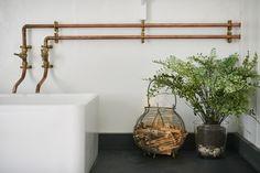Niki Turner Stroud Bathroom Industrial Bathroom Vanity, Bathroom Faucets, Concrete Bathroom, Industrial Desk, Vintage Industrial, Industrial Wallpaper, Industrial Closet, Industrial Windows, Industrial Restaurant