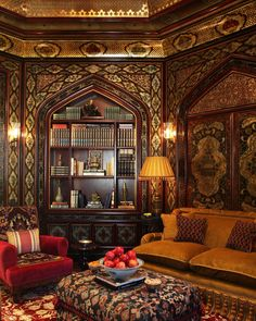 Library by Alidad Design, in the spirit of 18th and 19th century Syrian and Ottoman houses. Hand-printed papers create the pattern and, once on the walls, the scheme is hand-finished with bold painting and gilding.