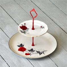 Rouge: 2 Tier Cake Stand, 1950's Rockabilly Red Rose Serving Stand. $68.00, via Etsy.