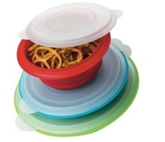 This versatile Collapsible Storage Bowls set is perfect for food prep and storage and will go just about anywhere. With three convenient storage bowl sizes they are great for taking in a lunch box, on a hike or camping.   Pack along snacks in these 1.5 cup, 3 cup and 5 cup collapsible bowls wit...