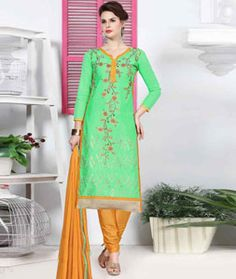 Buy Green Cotton Churidar Suit 77827 online at lowest price from huge collection of salwar kameez at Indianclothstore.com.