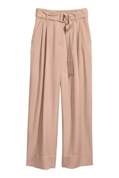 Wide lyocell trousers - Light beige - Ladies | H&M GB