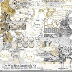 I Do Wedding Scrapbooking Kit neutral and elegant for scrapbooking wedding albums and pages #designerdigitals
