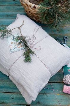 Linen pillow cover. Standard size. Natural, washed, softened linen pillowcase in natural light grey color.