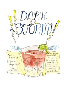 Dark and Stormy Watercolor Print by Marcella Art & Illustration. Featuring the Dark and Stormy beverage, including ingredients and recipe.