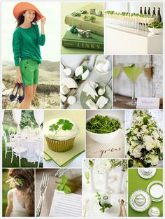 Luck of the Irish green and white inspiration board for St. Patrick's Day