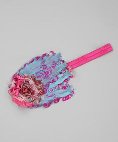 Take a look at this Aqua & Hot Pink Feather Headband by My Sunshine Shoppe on #zulily today!