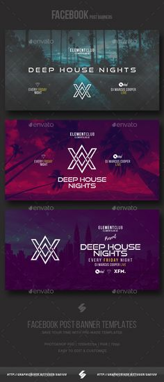 Electronic Music Party - Facebook Post Banner Templates PSD #ads