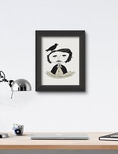 Edgar Allan Poe Poster Print Art Illustration by RooftopCo Poster Prints, Posters, Art Prints, Edgar Allan Poe, Wall Decor, Wall Art, Illustration Art, Objects, House Design