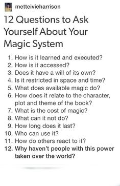 12 Question to Ask yourself about your Magic System Book Writing Tips, Creative Writing Prompts, Writing Words, Writing Resources, Writing Help, Writing Skills, Fiction Writing, Writing Fantasy, Writing Promts