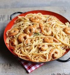 Linguine aux gambas - Food and Drinks Seafood Recipes, Pasta Recipes, Nutella, Confort Food, Great Recipes, Healthy Recipes, Food Porn, Love Eat, Italian Recipes