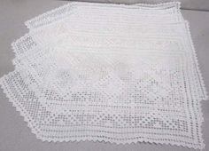 Lot of 4 Hand Made  White Hand  Crocheted Small Table Runner Dollies
