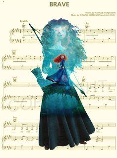 Brave Merida Music Sheet Art Print by AmourPrints on Etsy Disney Sheet Music, Disney Songs, Disney Art, Disney Princess Quotes, Disney Quotes, Disney And Dreamworks, Disney Pixar, Lilo Et Stitch, Estilo Disney