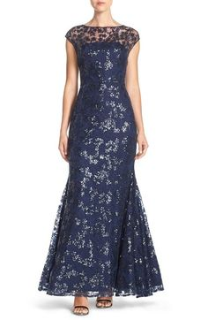 e1b8e668644 Vera Wang Illusion Sequin Lace Mermaid Gown available at  Nordstrom Mermaid  Gown