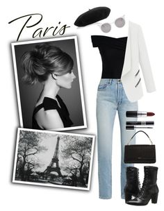 """""""Paris, black and white trend"""" by smillafrilla ❤ liked on Polyvore featuring WALL, Chicwish, Yves Saint Laurent, Gucci, Johnston & Murphy, Alexander McQueen, DKNY, Christian Dior and MAC Cosmetics"""