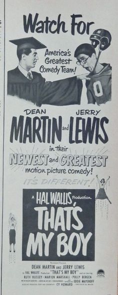 That s My Boy  movie print ad  Rare 50 s B W Illustration  Dean Martin and Jerry Lewis  Mag  Art