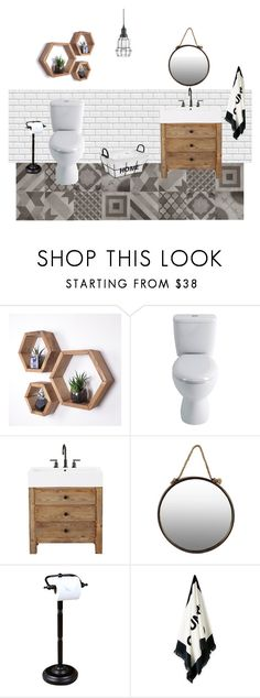 Toilet by buzsicky-lidia on Polyvore featuring interior, interiors, interior design, home, home decor, interior decorating, Kingston Brass, Pottery Barn and Korg