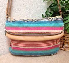 1182692287f9 Relic Multi Color Striped Canvas Fold Over Messenger Crossbody Bag Handbag