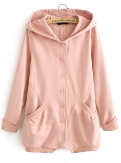 Pink Hooded Long Sleeve Pockets Sweatshirt US$36.72- oh man this looks SO comfy.