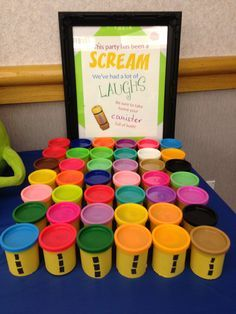 One of the favors for my sons first birthday, Monsters, Inc. I made Playdoh cans into scream/laugh canisters.