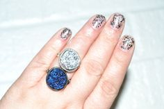 Wild Titanium Druzy Ring - Purple Blue Silver Druzy Crystal Stone Boho Cocktail Ring Nebula Galaxy Hipster Ring Gift for her on Etsy, $15.00
