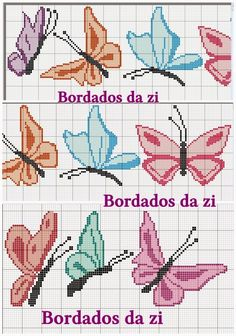 Butterfly cross stitch and chart. Cross Stitch Boards, Cross Stitch Love, Cross Stitch Alphabet, Cross Stitch Animals, Butterfly Cross Stitch, Cross Stitch Flowers, Crochet Butterfly, Applique Embroidery Designs, Christmas Embroidery Patterns