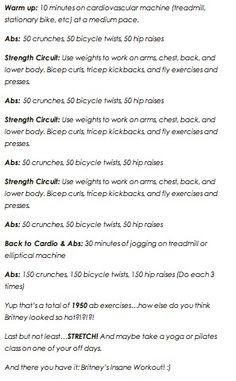 Britney's Insane workout. Phew.