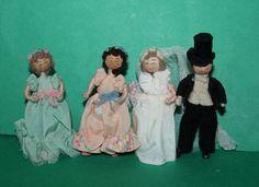 Vintage Dolls House Grecon Bridal Party Dolls Groom Doll Bride And Bridesmaids