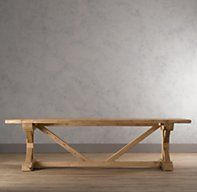 RH's Salvaged Beam Rectangular Dining Table:Bearing the patina of a beloved antique, pine timbers salvaged from 100-year-old buildings in Great Britain now support our hand-crafted dining table.