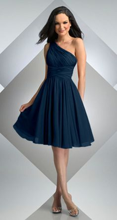 Bari Jay 230 One Shoulder Short Dress Navy On Love This Color Dawn