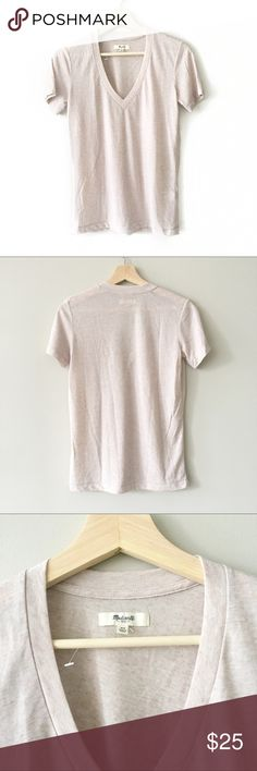 Madewell Deep V-Neck Tee Shirt in Mauve