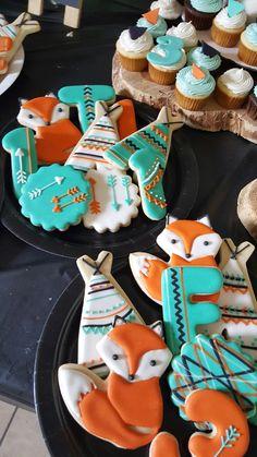 Tribal teepee woodland birthday party cookies