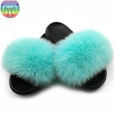 Fur Slippers Women Real Fox Fur Slides Home Furry Flat Sandals Female Cute Fluffy House Shoes Fashion Slippers, Fashion Shoes, Indoor Slides, Slipper Sandals, Women Brands, Fur Slides, Fox Fur, Types Of Shoes, Womens Slippers
