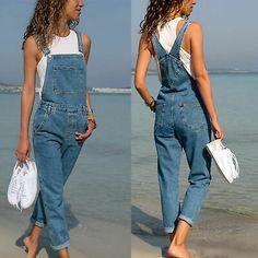 Machine Women Jeans Jumpsuit Skinny Casual Boyfriend Baggy Denim Overall Rompers Denim Dungarees Outfit, Overalls Women, Jumpsuit Outfit, Jeans Jumpsuit, Bib Overalls, Pants, Skirt Outfits, Casual Outfits, Denim Overall