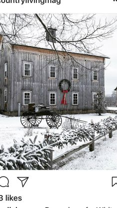 The Sweet Tea Gypsy  Check out a sassy, fun blog.  Follow me on Instagram: sweetteagypsy  #sweetteagypsylife Cozy Christmas, Christmas Scenes, Country Christmas, Old Farm Houses, Winter Pictures, Winter Scenery, Primitive Homes, Beautiful Buildings, Barn Living