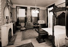 Guide To Discount Bedroom Furniture. Bedroom furnishings encompasses providing products such as chest of drawers, daybeds, fashion jewelry chests, headboards, highboys and night stands. Victorian Bedroom, Victorian Interiors, Vintage Interiors, Victorian Decor, Bedroom Vintage, 1920s Bedroom, Fancy Bedroom, Victorian Furniture, Bedroom Decor