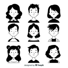 People avatars black and white design , Art And Illustration, People Illustration, Character Illustration, Black And White Illustration, Art Illustrations, Cartoon Faces, Cartoon Art Styles, Cartoon Drawings, Cute Drawings