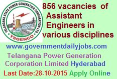 TSGENCO RECRUITMENT 2015 ASSISTANT ENGINEER VACANCIES ~ Government Daily Jobs