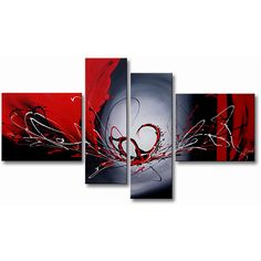 Add mystery to your interior design with this hand-painted canvas art. Bold strokes of red, white, black, and gray highlight this four-piece, gallery-wrapped set. Two horizontal and two vertical panels make this a great dramatic focal point.