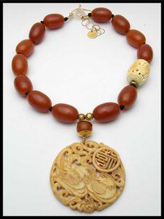 LOVEBIRDS - Vintage Handcarved Jade Pendant - Handcarved Bone Focal - Amber Resin Necklace by sandrawebsterjewelry on Etsy