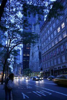 Manhattan, #NYC #blue picture #street