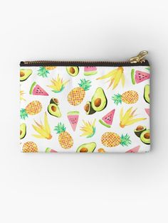Watercolor Pineapple, Avocado, Watermelon, and flowers summer tropical pattern. Eating Pictures, Tropical Fruit Salad, Tropical Pattern, Gifts For Family, Cotton Tote Bags, Tech Accessories, Decorative Throw Pillows, Watermelon, Pineapple